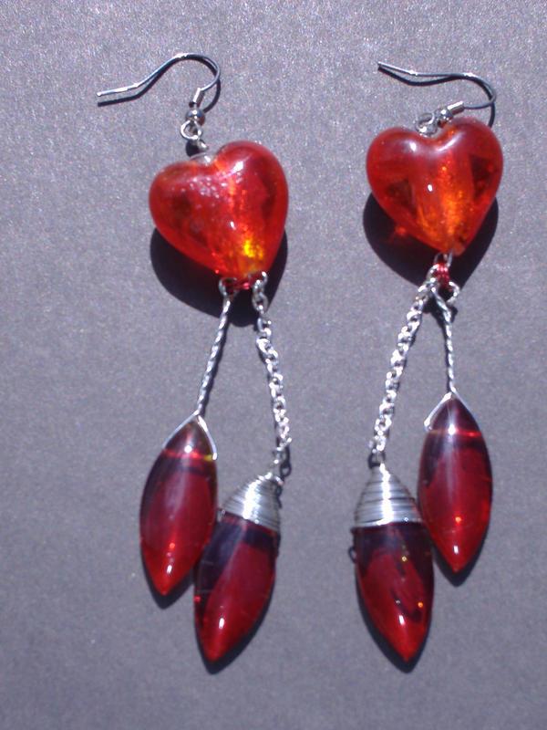 bleeding heart earings by kelzbelz313