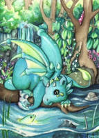 Lake dragon hatchling and neon fish by Ermelin