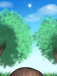 Trees and sky p by animedemon367