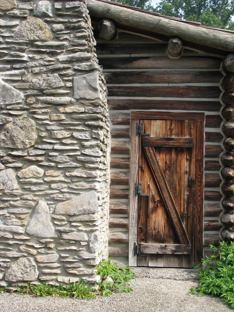 00129 Wood Log Cabin Door And Stone Chimney By Emstock
