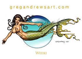 WEEKI Fantasy Comic Mermaid Pinup Art Greg Andrews by badass-artist