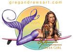 SURFER GIRL Mermaid Fantasy Art Greg Andrews Artis