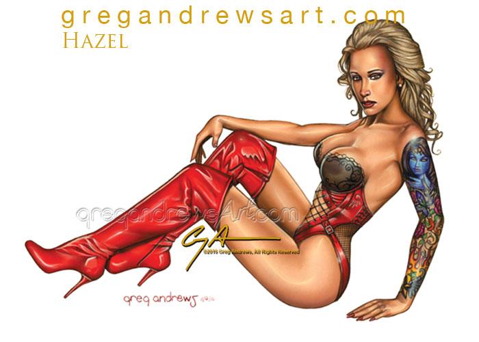 HAZEL Sexy Pinup Art Greg Andrews Artist by badass-artist