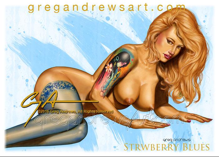 STRAWBERRY BLUES Fantasy Pinup Art Greg Andrews Ar by badass-artist