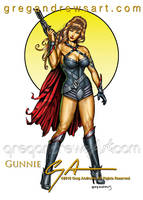 GUNNIE Fantasy Pinup Art Greg Andrews Artist by badass-artist