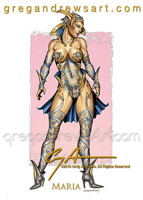 MARIA Fantasy Pinup Art Greg Andrews Artist by badass-artist