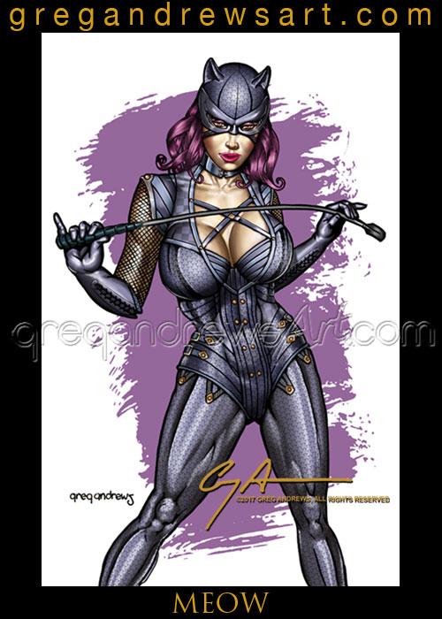 MEOW Sexy Catwoman Pinup Greg Andrews Artist by badass-artist