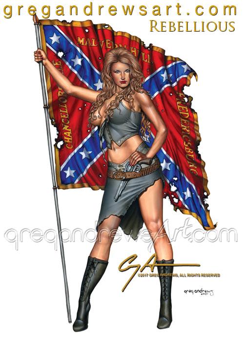 REBELLIOUS Sexy southern pinup greg andrews artist by badass-artist