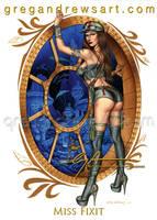 Miss Fixit Fantasy Pinup Art Greg Andrews Artist by badass-artist