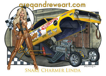 SNAKE CHARMER LINDA Dragster Art by Greg Andrews