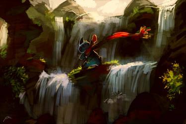 Stitch at the waterfall by bluekomadori