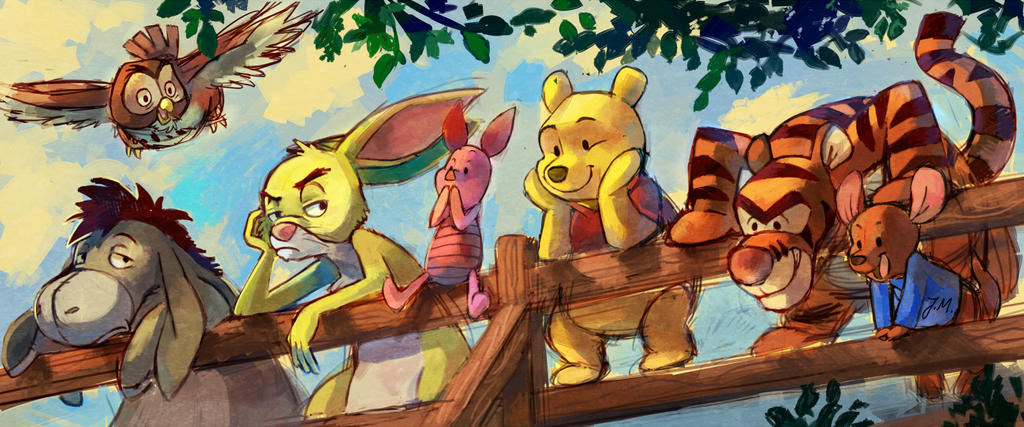 Pooh and friends by bluekomadori