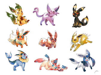 Eeveelutions by bluekomadori