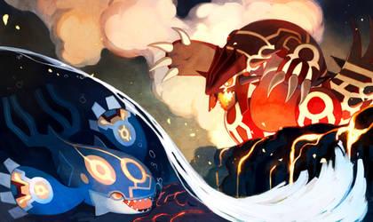 Kyogre and Groudon by bluekomadori