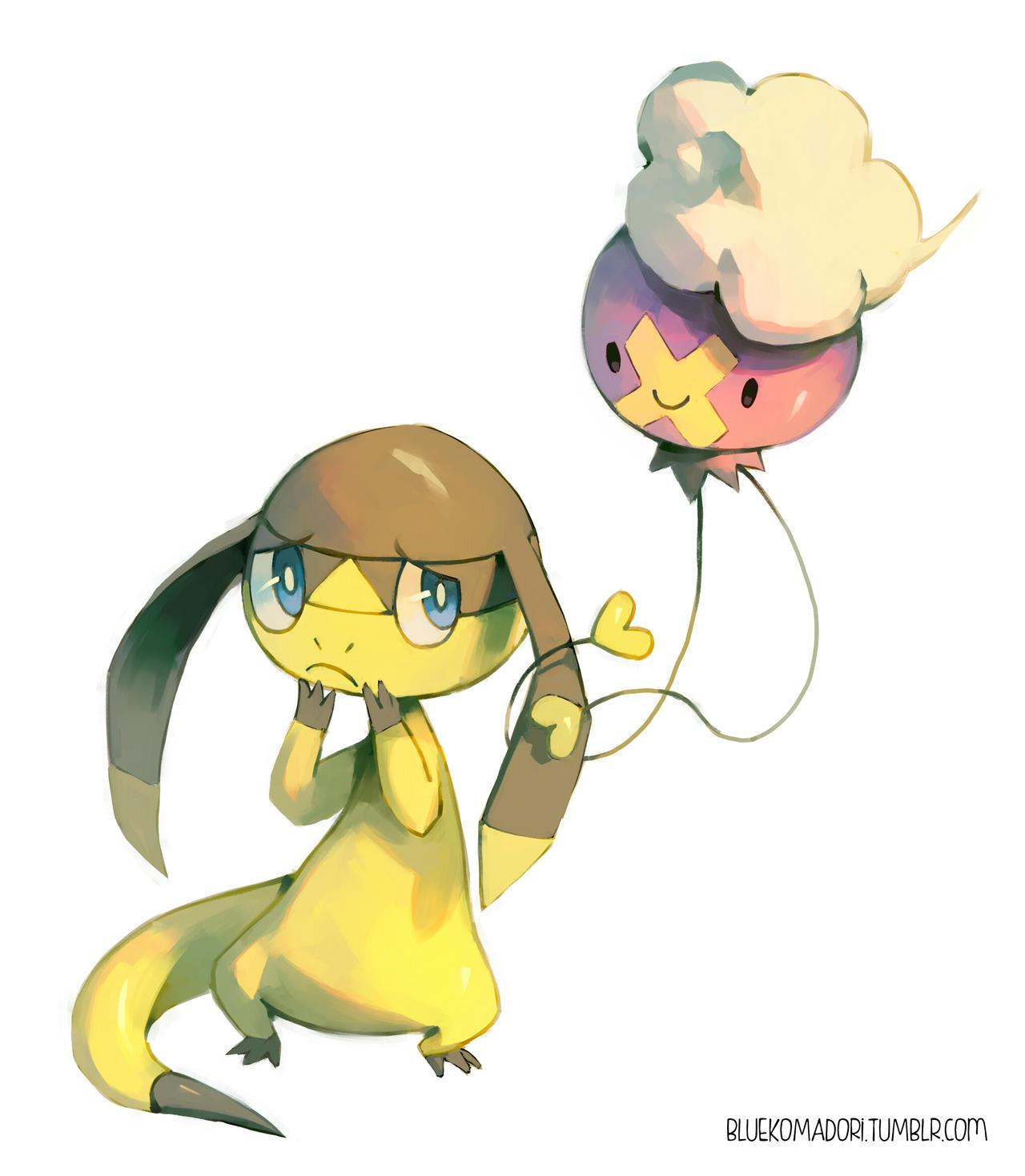 Pokemon coloring pages helioptile - Helioptile And Drifloon By Bluekomadori