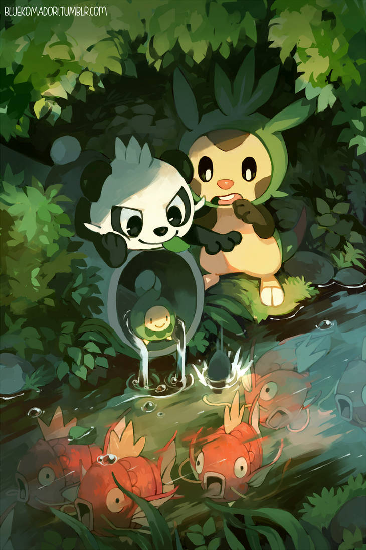 Pancham and Chespin by bluekomadori