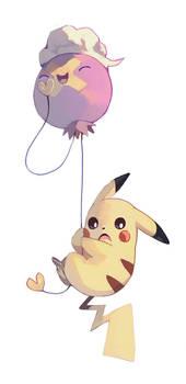 Pikachu and Drifloon