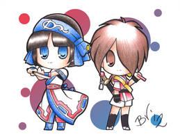 chibi rimururu and shizumaru by BlueValkyrie