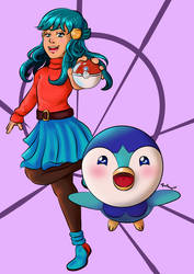 Dawn and Piplup by TrufanNekiaWilson