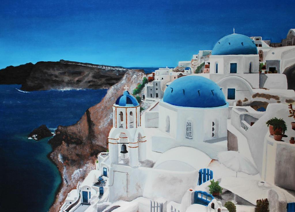 Santorini Oia acrylic by LucaDeBoa