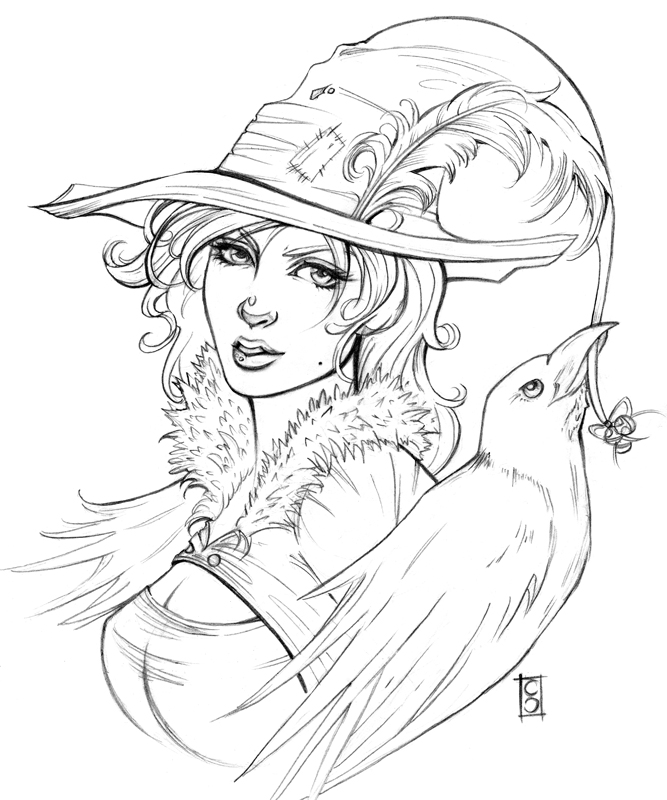 Line Drawing Of Witches Face : The witch and crow lines by aberrantkitty on deviantart