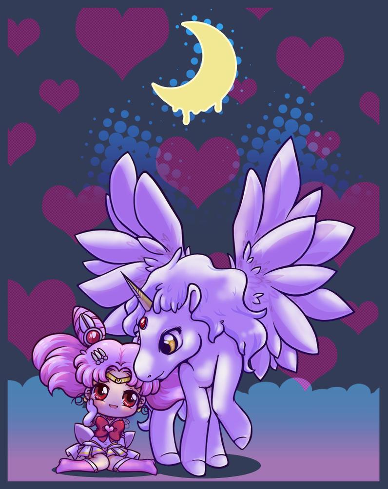 Chibimoon and Pegasus by Danime-chan