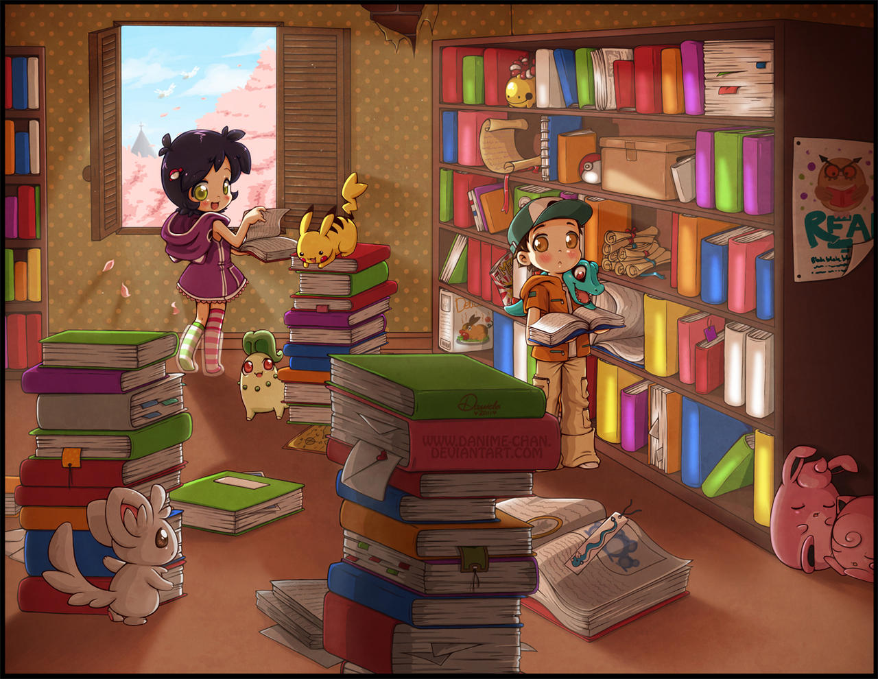 At the library by Danime-chan