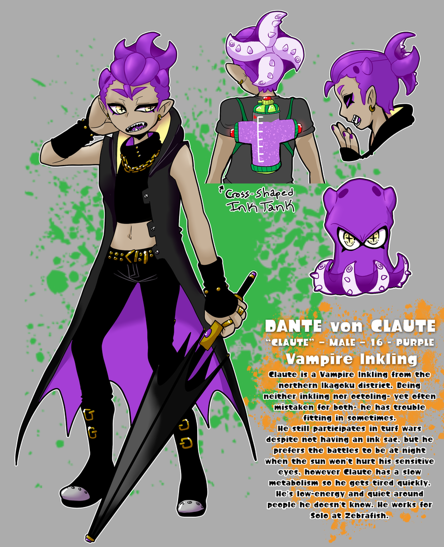 Splatoon Claute The Vampire Inkling Oc Sheet By