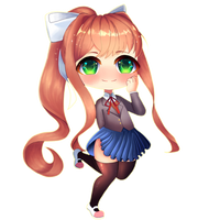 Doki Doki Literature Club! Monika chibi by swordmasterqueen