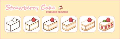 Strawberry Cake Pixel Process
