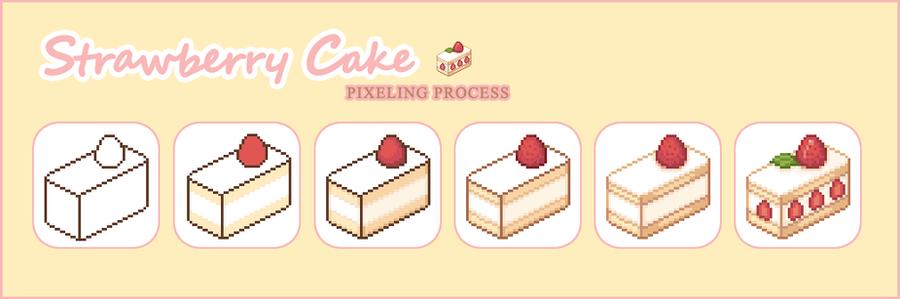 Strawberry Cake Pixel Process by Kiyorin