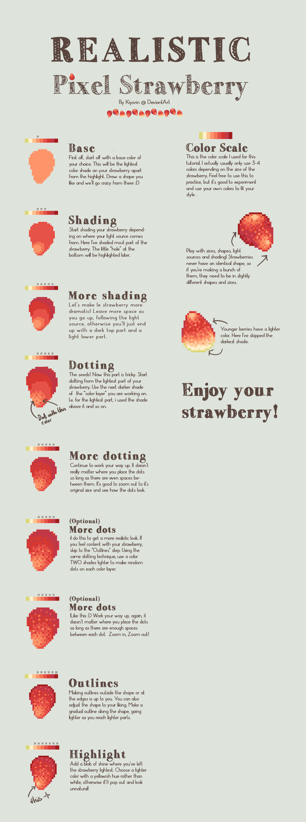 Realistic Pixel Strawberry tutorial by Kiyorin
