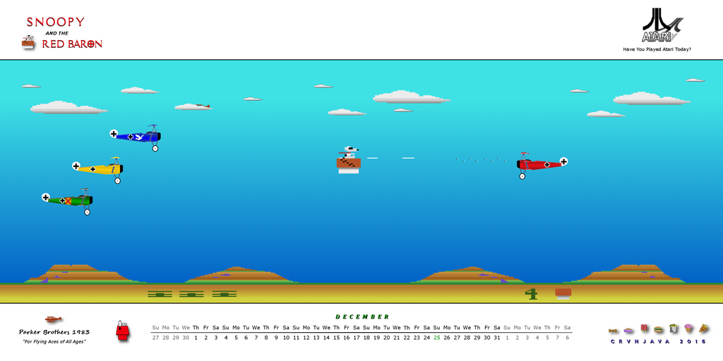 Snoopy and the Red Baron December 2016 Calendar by crvnjava67