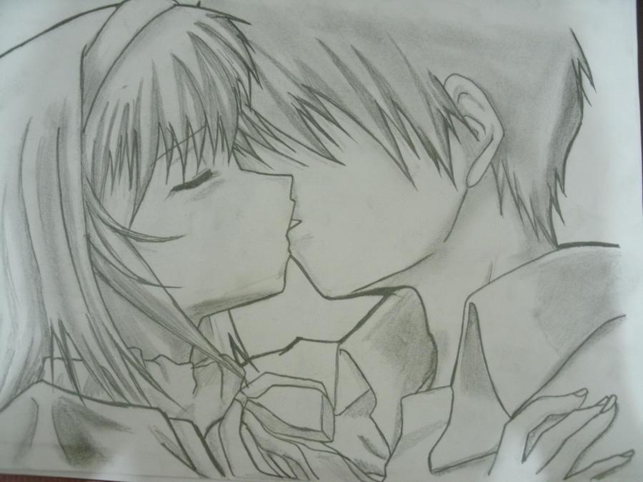 Manga couple kissing by kymel12