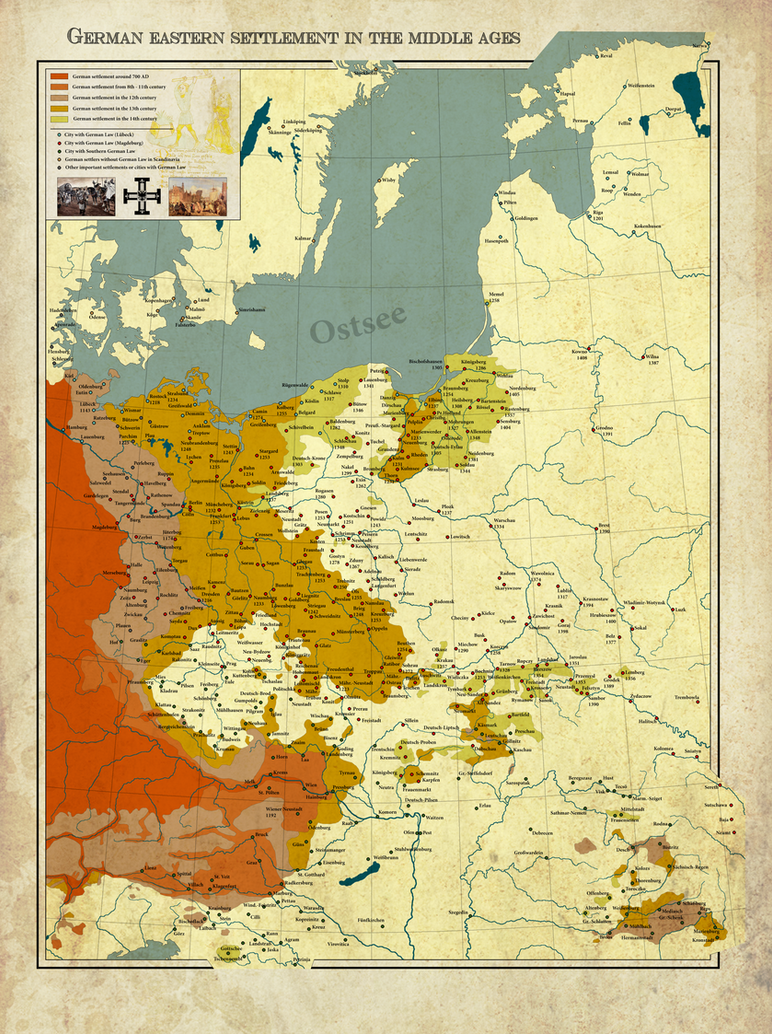 German Eastern Settlement In The Middle Ages By Arminius On - Germany map middle ages