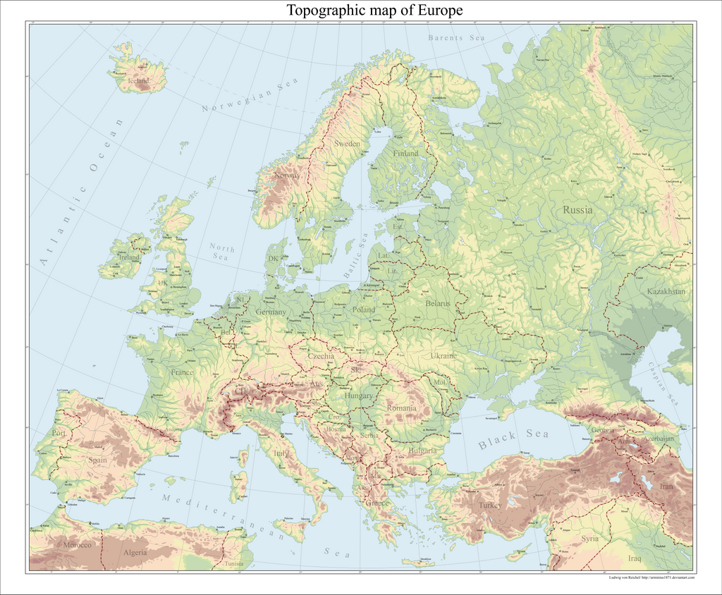 Europe topographical map by Arminius1871 on DeviantArt