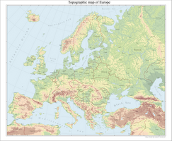 Europe topographical map by Arminius1871