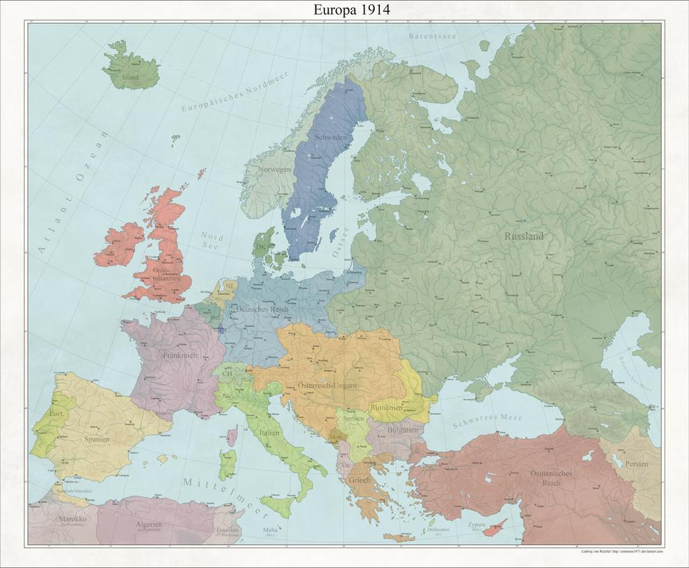 Europe 1914 political by Arminius1871 on DeviantArt on