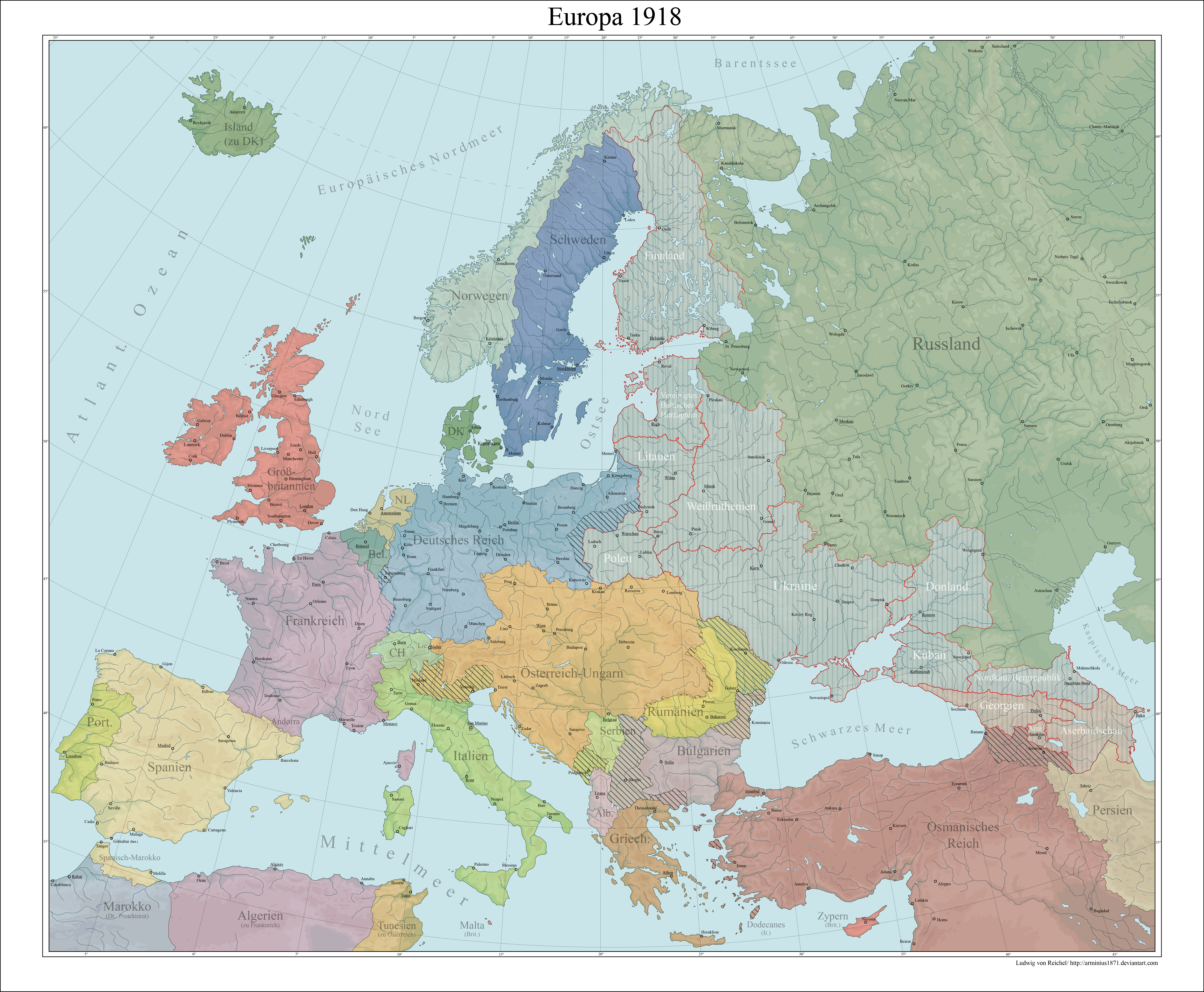 Europe 1918 Central Power victory by Arminius1871