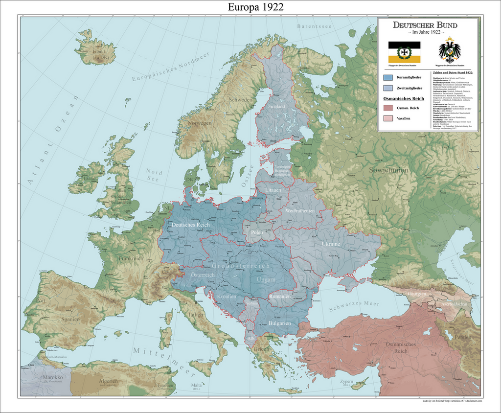 Map Of Europe 1922.A Map Of Europe In 1922 In A Scenario Where The Central Powers Win
