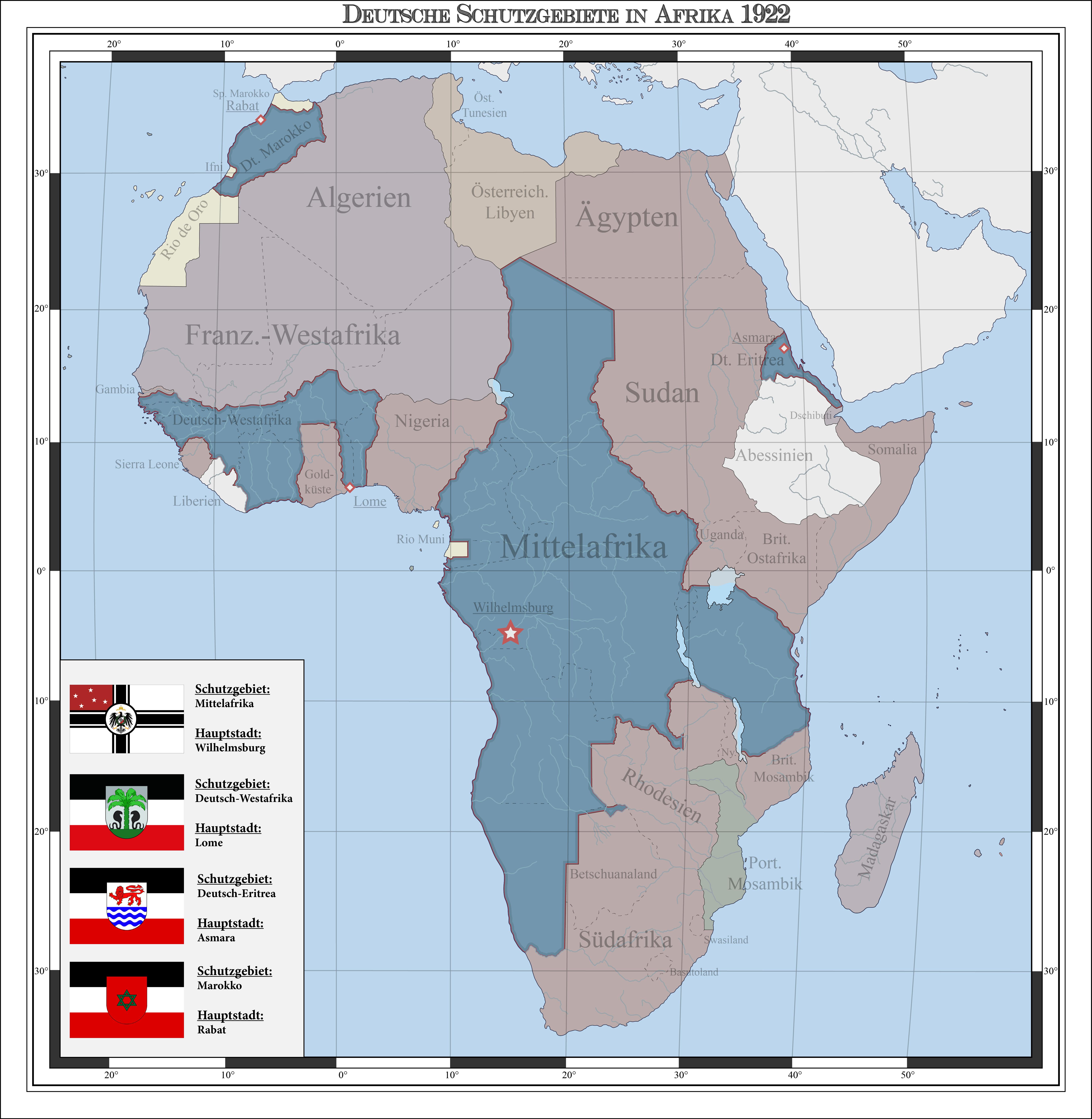 German colonies in Africa 1922 (alternate history) by Arminius1871