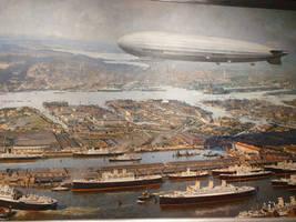 Zeppelin over old Hamburg