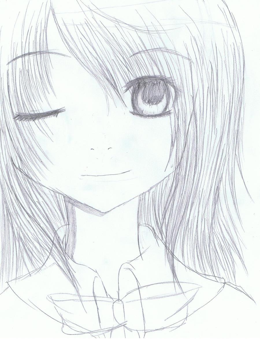 Anime girl headshot sketch by xosachiko bafukuox on deviantart for How to draw good sketches
