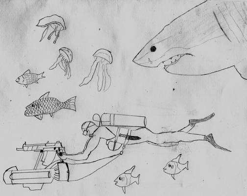 Assault diver and shark.