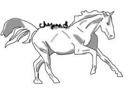 Horse lineart with shading (Pratice complete) by Chynna-B