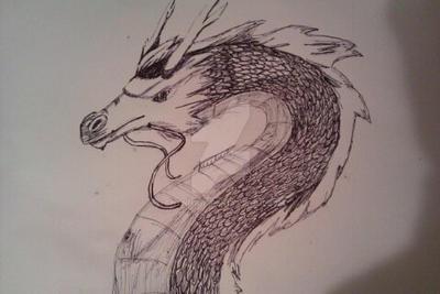 Chinese Dragon Sketch (Biro) by Chynna-B