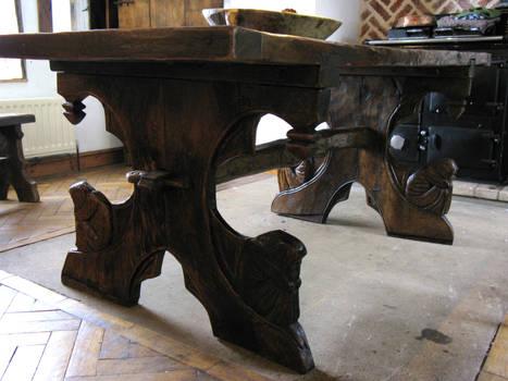 viking medieval oak table