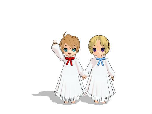 MMD- Little NA Twins by UtaCasabee