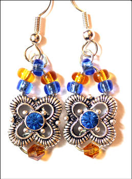Blue and Amber earrings for Mom
