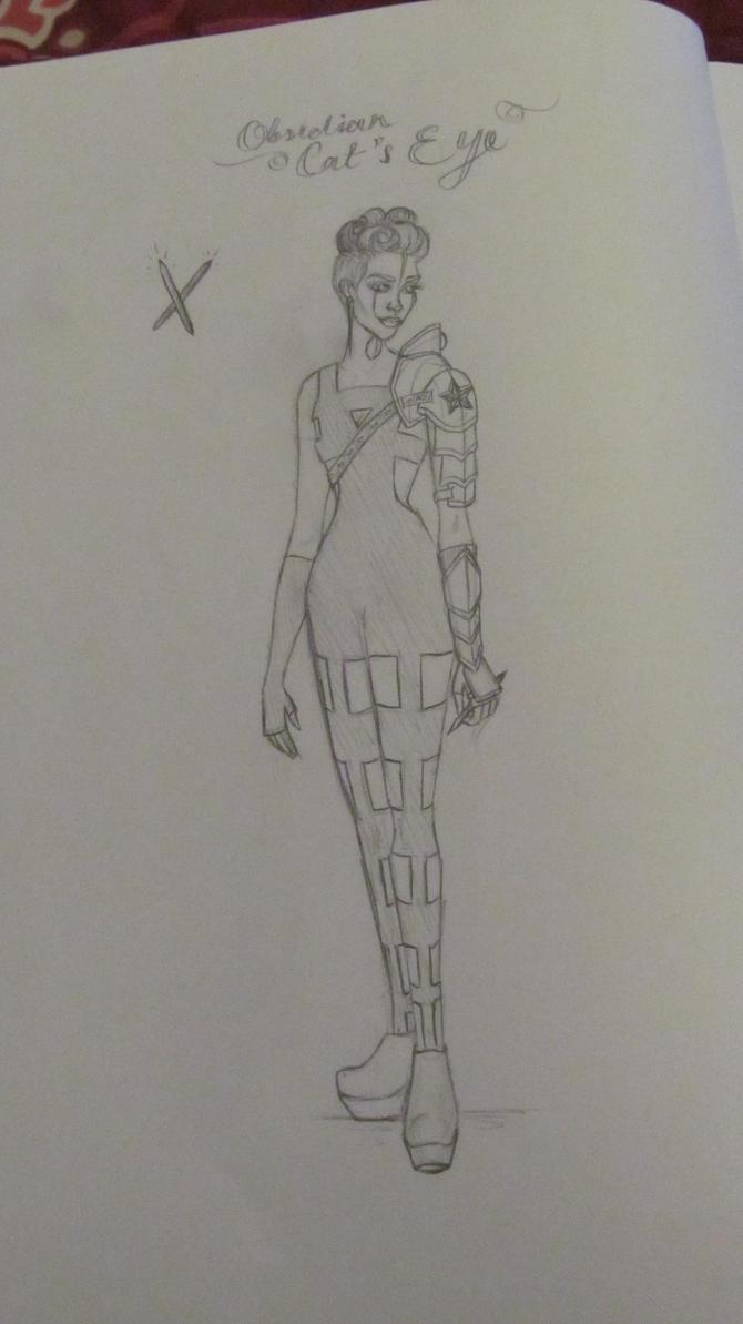 Obsidian Cat's Eye sketch details by Lady-Katsa